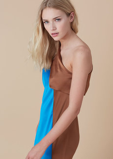 One Shoulder Color Block Dress