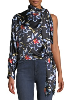 Diane Von Furstenberg One-Shoulder Silk Floral Knotted Blouse