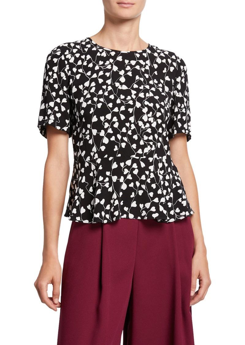 Diane Von Furstenberg Orilla Short-Sleeve Printed Peplum Top