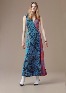Paneled Bias Floor-Length Dress