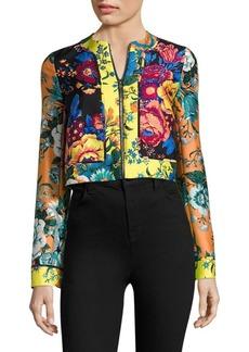 Diane Von Furstenberg Paneled Floral-Print Wool & Silk Jacket