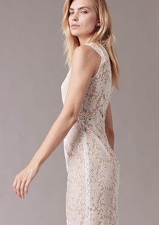 Paneled Overlay Midi Dress