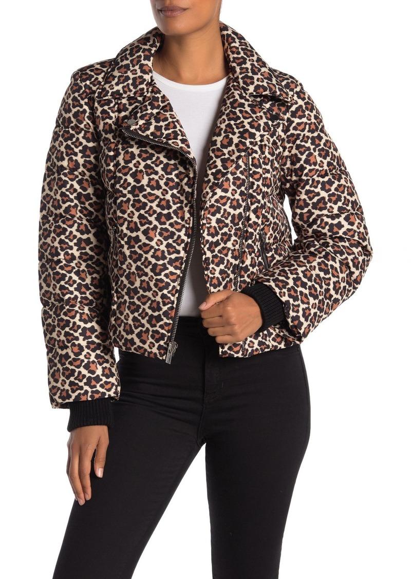Diane Von Furstenberg Paulina Leopard Moto Puffer Jacket