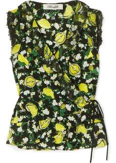 Diane Von Furstenberg Peona Lace-trimmed Printed Silk Crepe De Chine Wrap Blouse