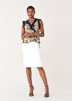 Diane Von Furstenberg Peona Ruffled Silk Crepe de Chine Wrap Top