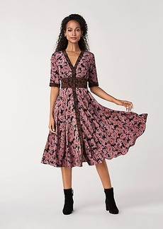 Diane Von Furstenberg Peony Silk Crepe de Chine Midi Dress