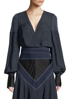 Diane Von Furstenberg Pintuck V-Neck Long-Sleeve Top