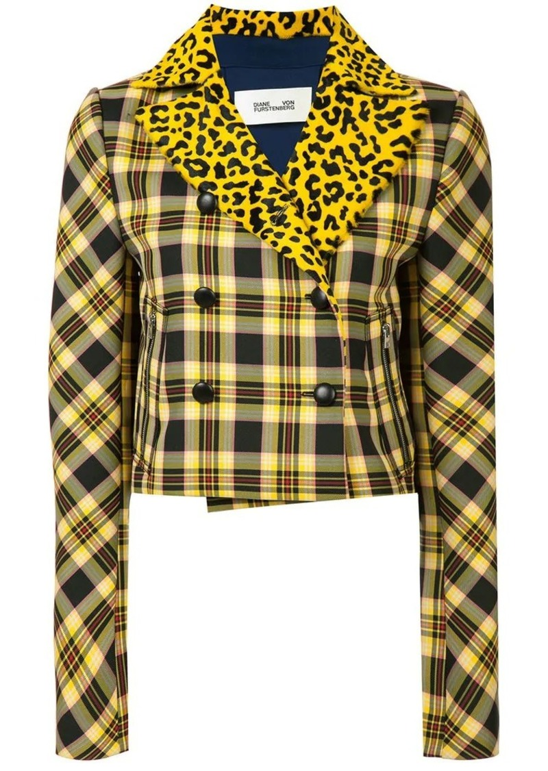 Diane Von Furstenberg plaid and leopard print jacket