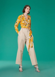 Pleat Front Tapered Cotton Pants