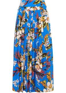 Diane Von Furstenberg Pleated Printed Silk Wrap Maxi Skirt
