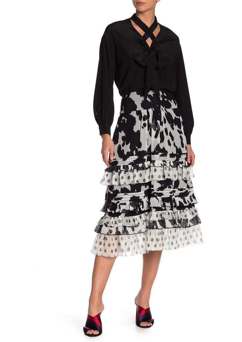 Diane Von Furstenberg Poppy Printed Ruffled Midi Skirt
