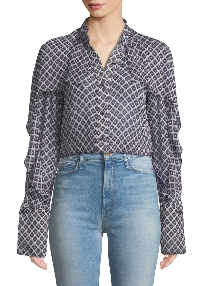Diane Von Furstenberg Printed Chiffon Cape Button-Front Shirt