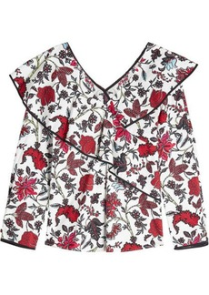 Diane Von Furstenberg Printed Ruffle Blouse with Cotton