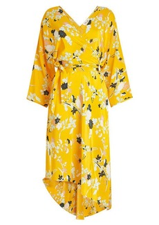 Diane Von Furstenberg Printed Silk Dress with Asymmetric Hem