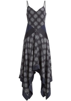Diane Von Furstenberg Printed Silk Dress with Scarf Hemline