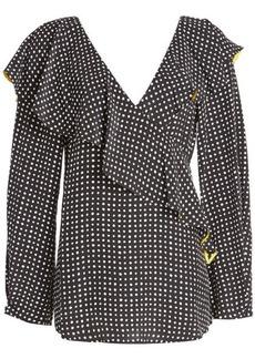 Diane Von Furstenberg Printed Silk Ruffle Top