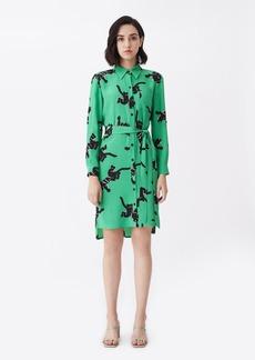 Diane Von Furstenberg Prita Silk Crepe De Chine Belted Shirt Dress in Climbing Panther Green