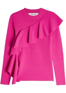 Diane Von Furstenberg Pullover with Ruffled Trim