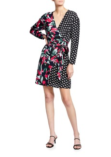 Diane Von Furstenberg Raven Mixed-Print Mini Wrap Dress