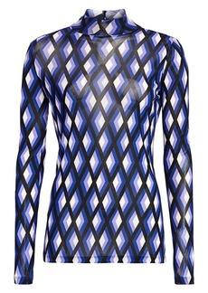 Diane Von Furstenberg Remy Diamond Print Mesh Mockneck Top