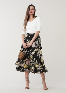 Diane Von Furstenberg Rosalia Cotton-Silk Midi Wrap Skirt
