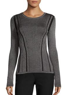 Diane Von Furstenberg Rib Knit Merino Wool & Silk Blend Sweater