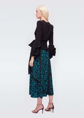 Diane Von Furstenberg Robin Cotton & Silk-Viscose Crepe de Chine Blouse in Black