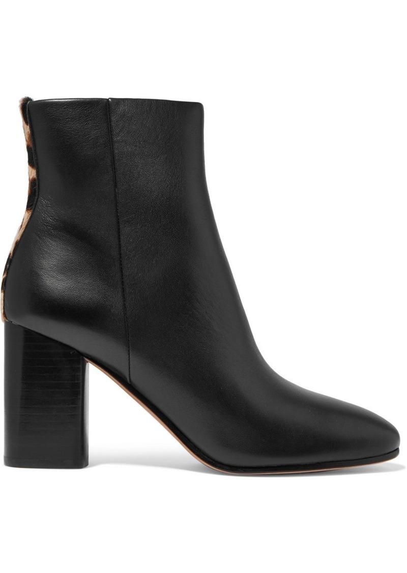 Diane Von Furstenberg Robyn Leopard-print Calf Hair-trimmed Leather Ankle Boots