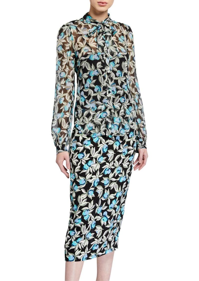 Diane Von Furstenberg Rosalee Printed Tie-Neck Blouse