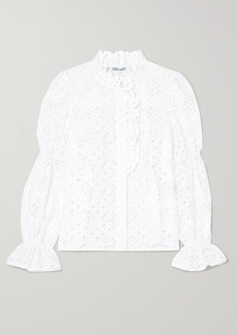 Diane Von Furstenberg Rosalyn Broderie Anglaise Cotton Blouse