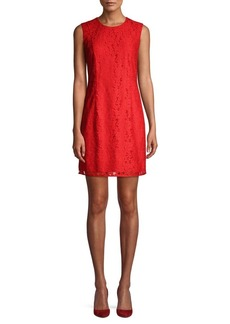 Diane Von Furstenberg Rose Lace Mini Sheath Dress