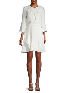 Diane Von Furstenberg Rosina Chiffon Mini Ruched & Ruffle A-Line Dress