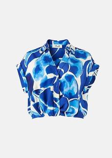 Diane Von Furstenberg Roxy Silk Crepe de Chine Cropped Shirt