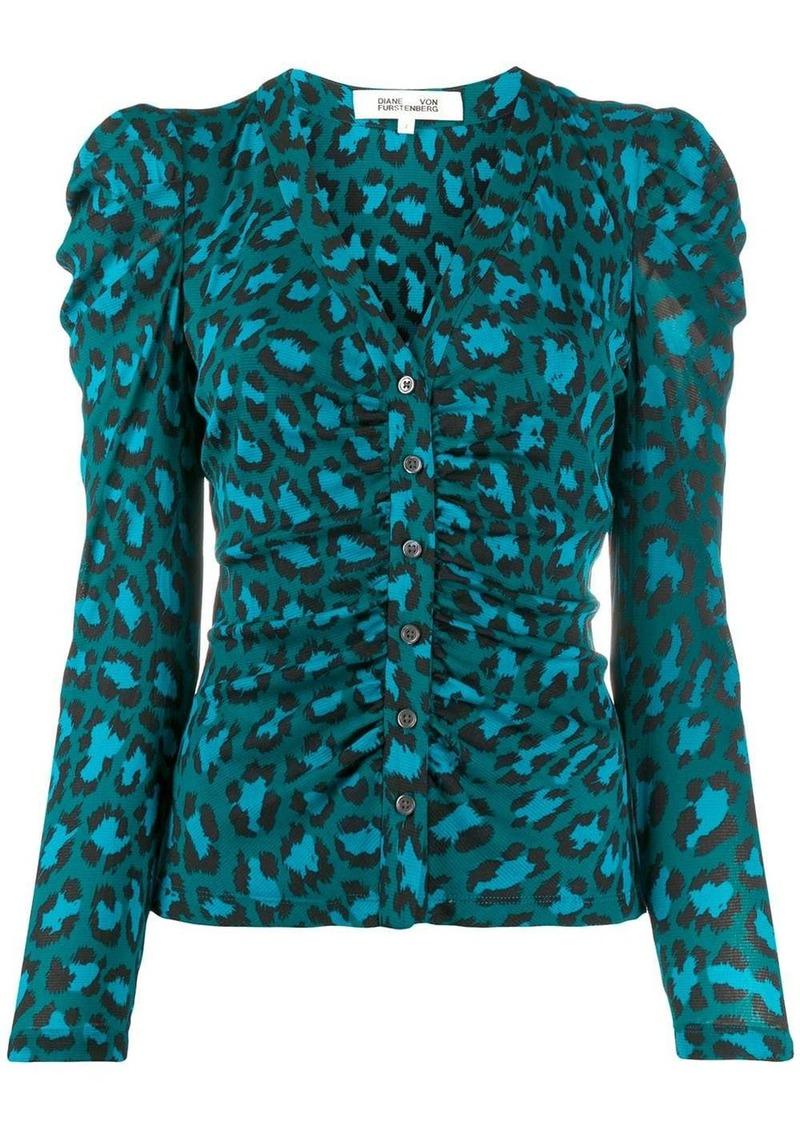 Diane Von Furstenberg ruched leopard-print jacket