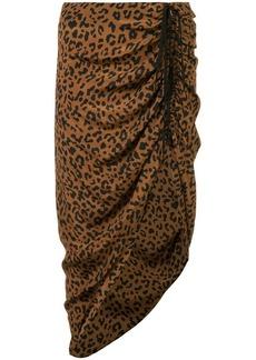 Diane Von Furstenberg ruched leopard print skirt