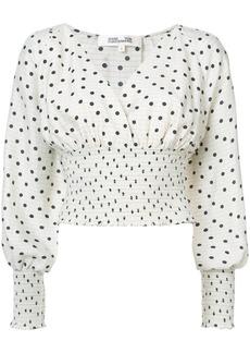 Diane Von Furstenberg ruched polka dot blouse