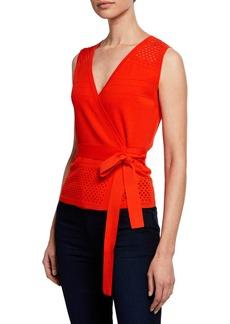 Diane Von Furstenberg Saffa Faux-Wrap Eyelet Self-Tie Top