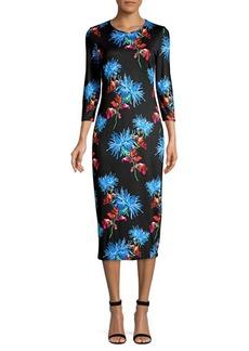 Diane Von Furstenberg Saihana Floral Print Midi Dress