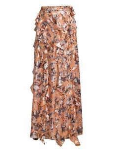 Diane Von Furstenberg Salona Metallic Silk-Blend Ruffled Maxi Skirt