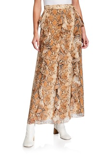 Diane Von Furstenberg Salona Ruffle Wrap Maxi Silk Skirt