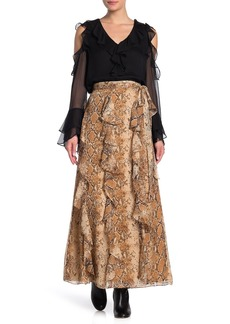 Diane Von Furstenberg Salona Silk Chiffon Snake Print Wrap Maxi Skirt