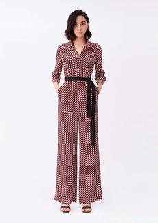 Diane Von Furstenberg Sandy Silk Crepe De Chine Wide-Leg Jumpsuit in 3D Chain White