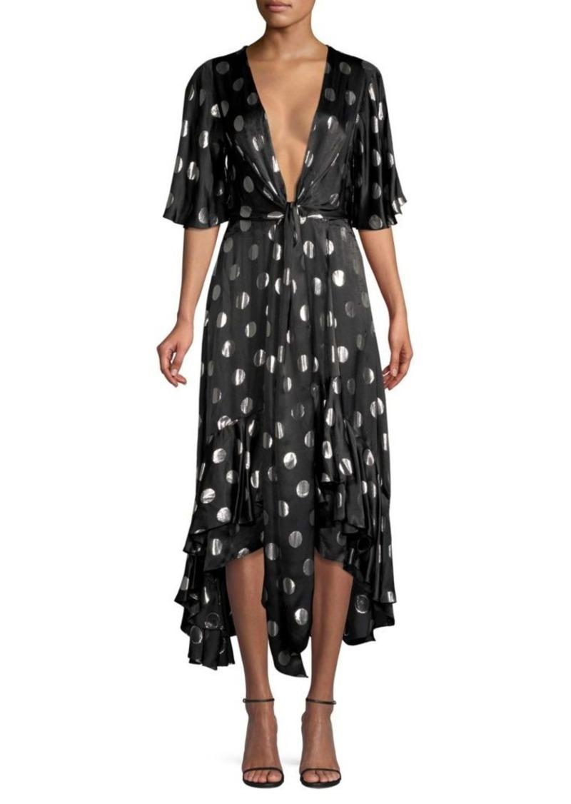 Diane Von Furstenberg Sareth Tie-Front Hi-Low Polka Dot Dress