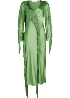 Diane Von Furstenberg Satin Dress with Fringe