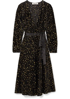 Diane Von Furstenberg Satin-trimmed Metallic Flocked Chiffon Wrap Dress
