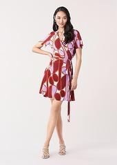 Diane Von Furstenberg Savilla Silk Crepe de Chine Mini Wrap Dress
