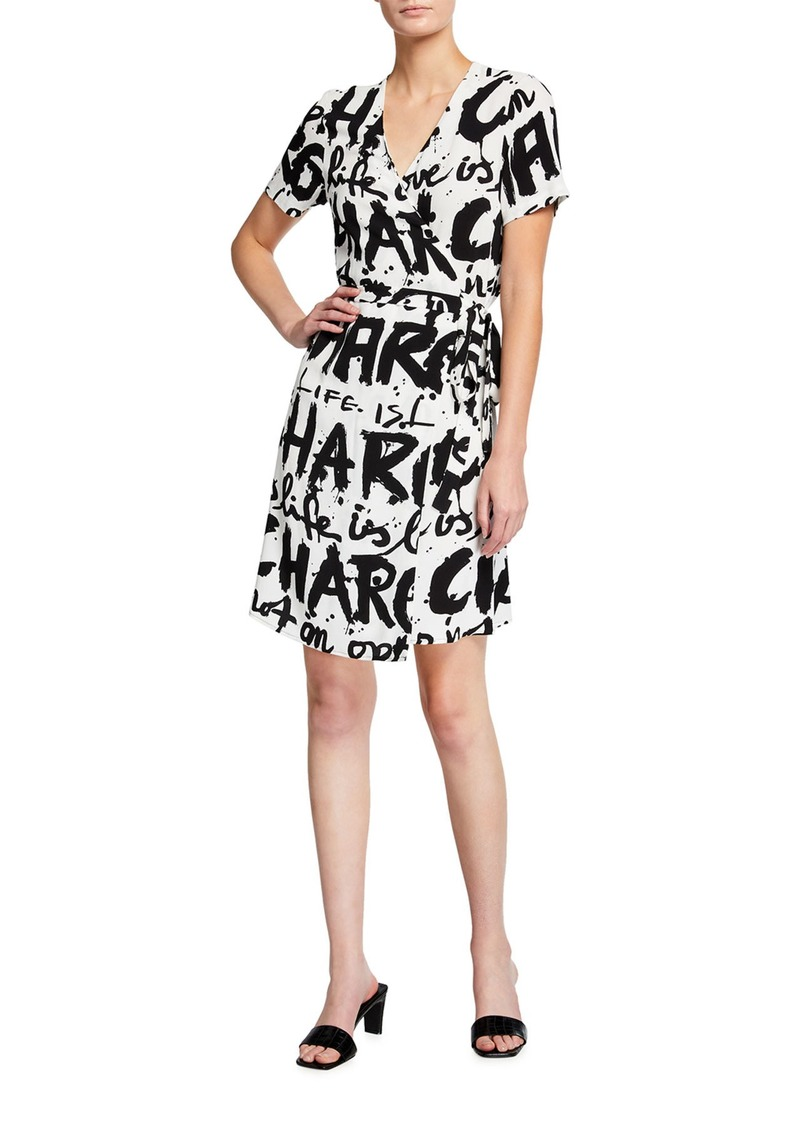 Diane Von Furstenberg Saville Typographic Wrap Dress