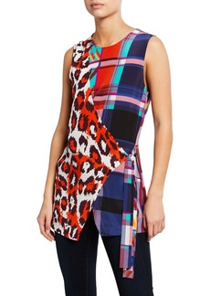 Diane Von Furstenberg Sedona Mixed-Print Sleeveless Top