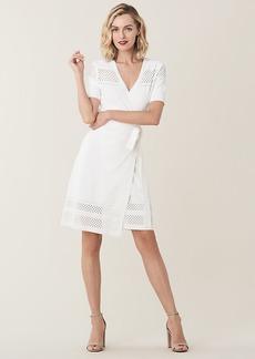 Diane Von Furstenberg Ivy Perforated Stretch-Knit Wrap Dress