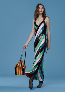 Diane Von Furstenberg Sequin D-Ring Cross Over Dress